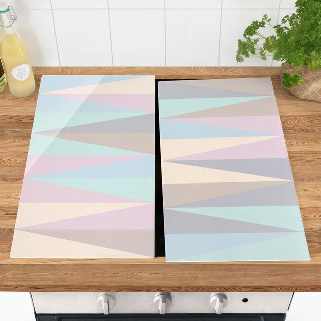 Herdabdeckplatte Glas - Dreiecke in Pastellfarben