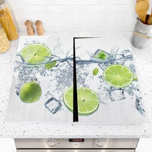 Herdabdeckplatte Glas - Erfrischende Limette