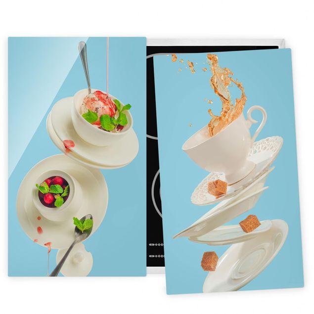 Herdabdeckplatte Glas - Fliegende Tassen