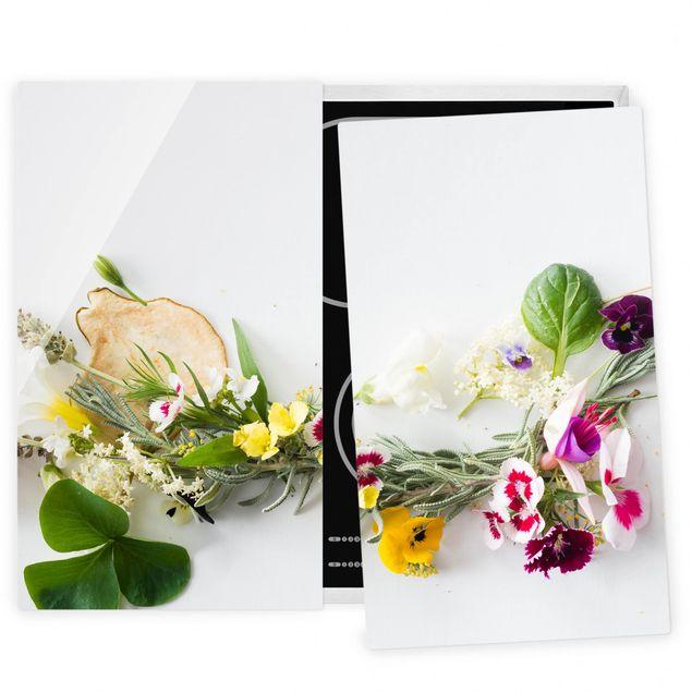 Herdabdeckplatte Glas - Frische Kräuter mit Essblüten