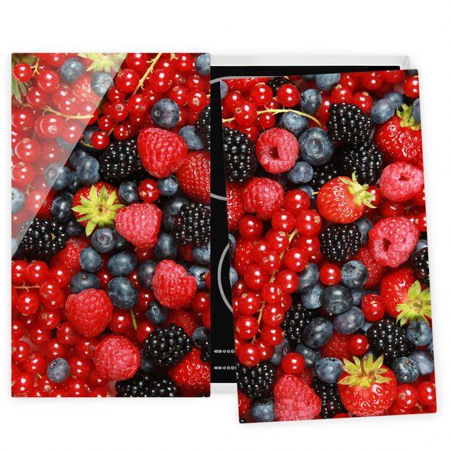 Herdabdeckplatte Glas - Fruchtige Waldbeeren