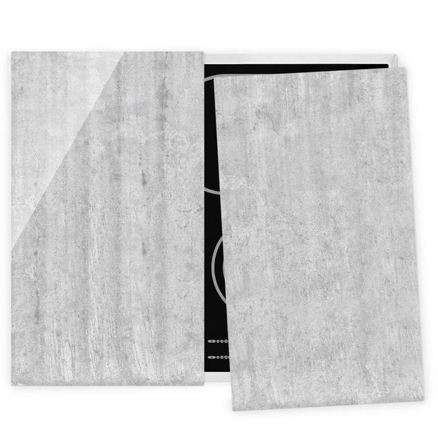 Herdabdeckplatte Glas - Große Loft Betonwand