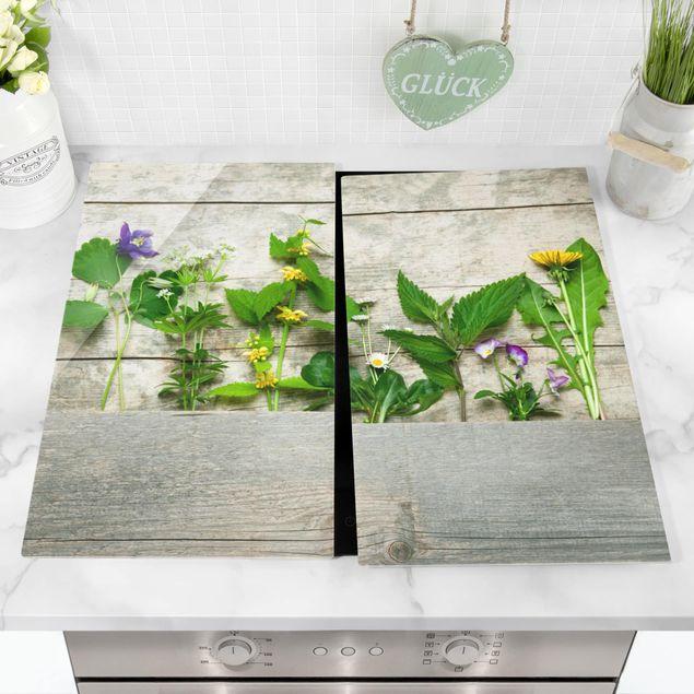 Herdabdeckplatte Glas - Heil und Wiesenkräuter