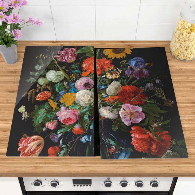 Herdabdeckplatte Glas - Jan Davidsz de Heem - Glasvase mit Blumen