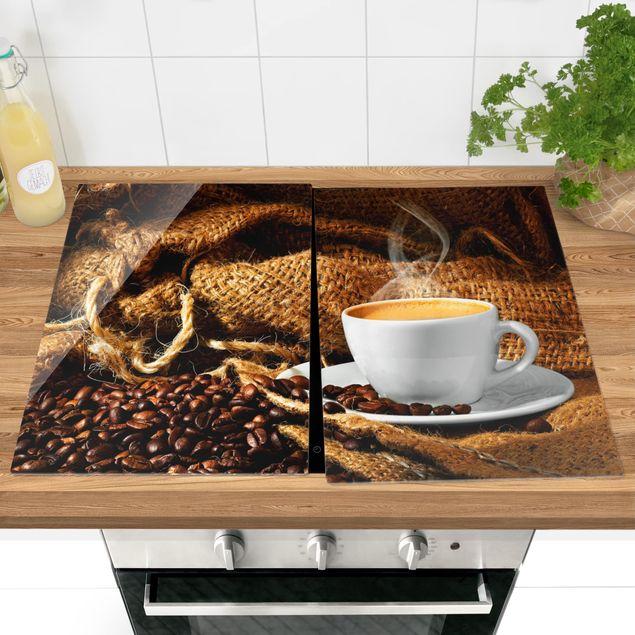 Herdabdeckplatte Glas - Kaffee am Morgen