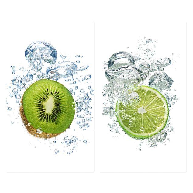 Herdabdeckplatte Glas - Kiwi and Lime Bubbles