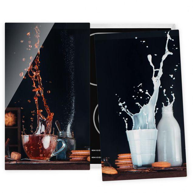 Herdabdeckplatte Glas - Milch und Tee Komposition