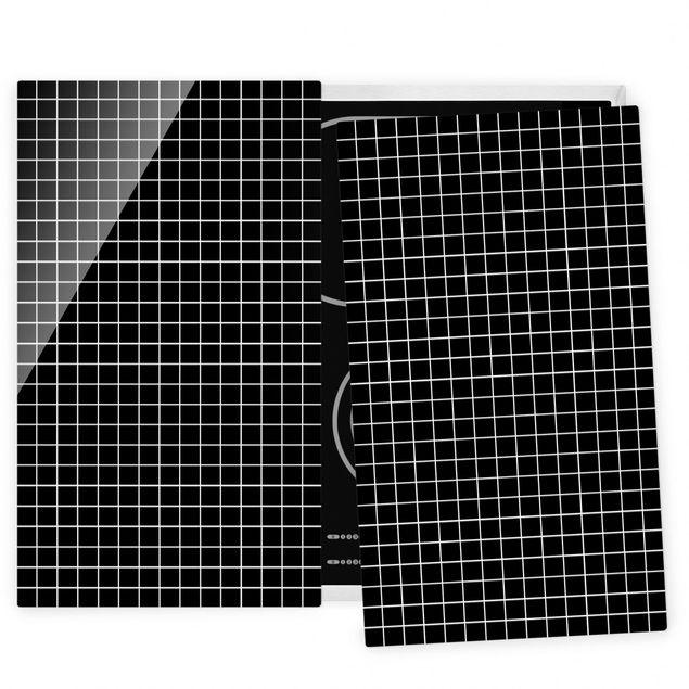 Herdabdeckplatte Glas - Mosaikfliesen Schwarz Matt