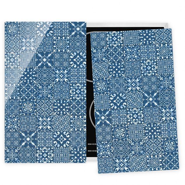 Herdabdeckplatte Glas - Musterfliesen Dunkelblau Weiß