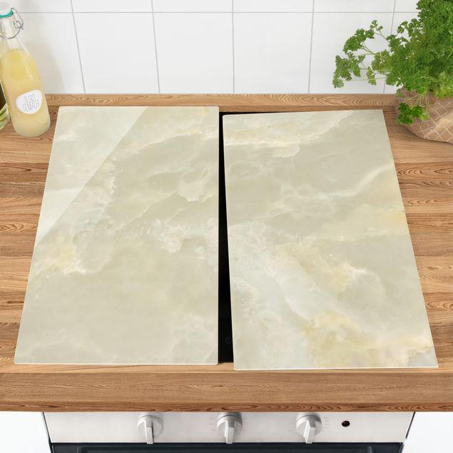 Herdabdeckplatte Glas - Onyx Marmor Creme