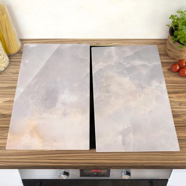 Herdabdeckplatte Glas - Onyx Marmor Grau