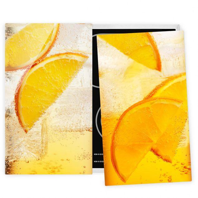 Herdabdeckplatte Glas - Orange auf Eis