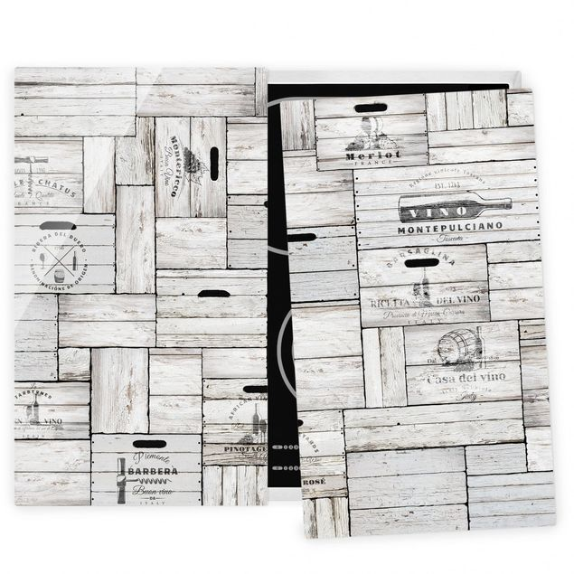 Herdabdeckplatte Glas - Shabby Holzkisten