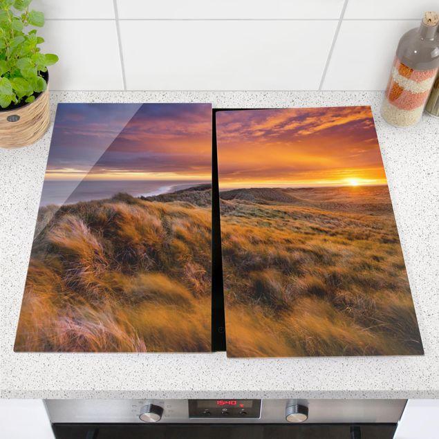 Herdabdeckplatte Glas - Sonnenaufgang am Strand auf Sylt