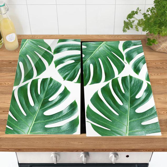 Herdabdeckplatte Glas - Tropische grüne Blätter Monstera