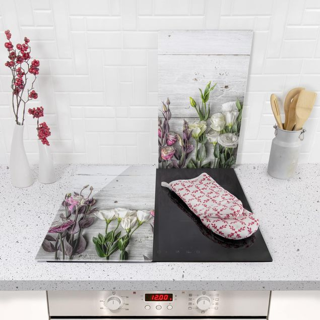 Herdabdeckplatte Glas - Tulpen-Rose Shabby Holzoptik