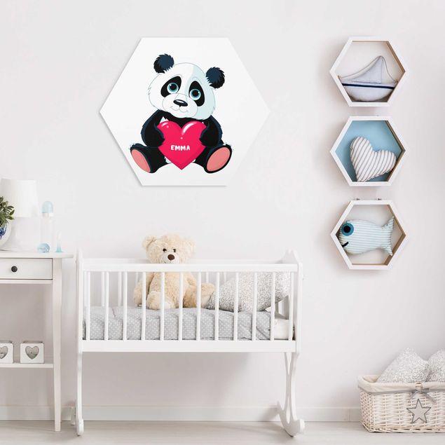 Hexagon Bild Forex mit Wunschtext - Panda mit Herz