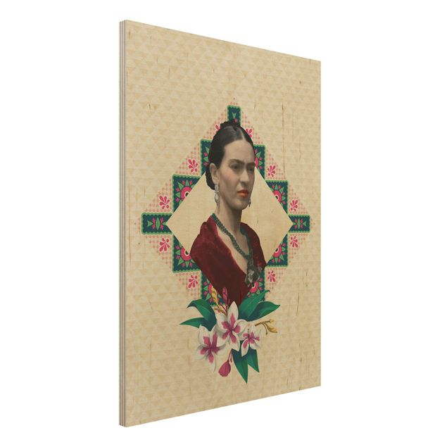 Holzbild -Frida Kahlo - Blumen und Geometrie- Hochformat 3:4