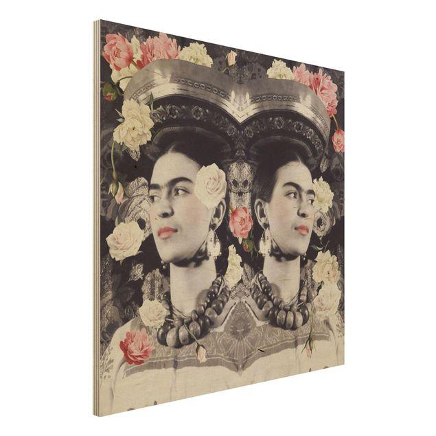 Holzbild -Frida Kahlo - Blumenflut- Quadrat 1:1