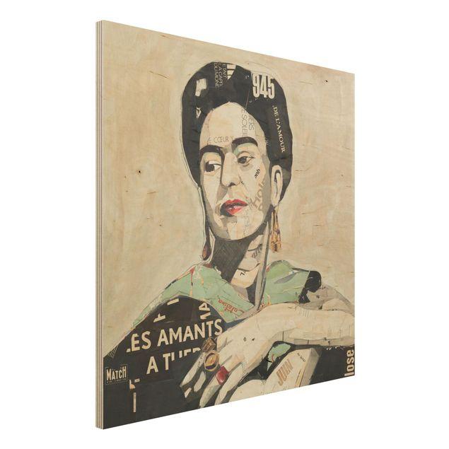 Holzbild -Frida Kahlo - Collage No.4- Quadrat 1:1