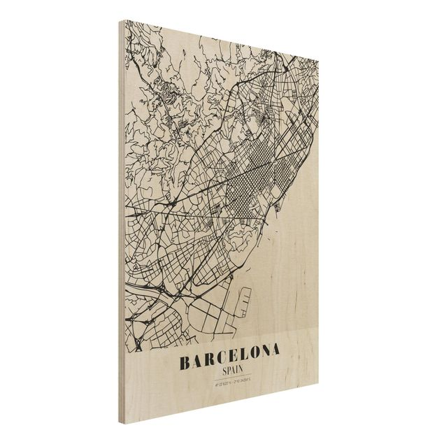 Holzbild -Stadtplan Barcelona - Klassik- Hochformat 3:4