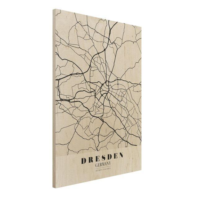 Holzbild -Stadtplan Dresden - Klassik- Hochformat 3:4