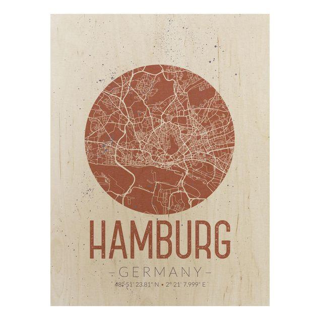 Holzbild -Stadtplan Hamburg - Retro- Hochformat 3:4