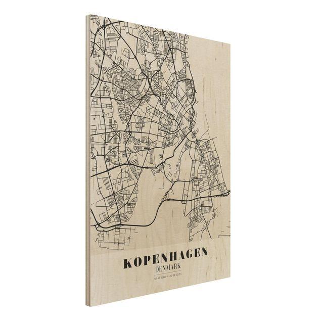 Holzbild -Stadtplan Kopenhagen - Klassik- Hochformat 3:4
