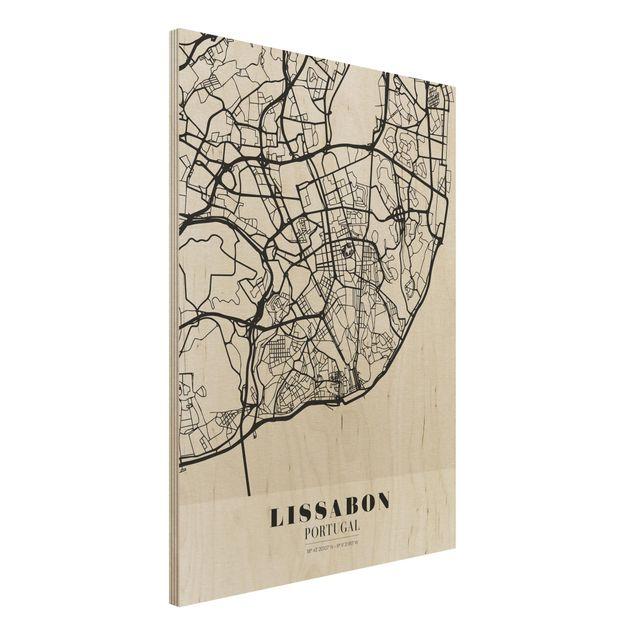 Holzbild -Stadtplan Lissabon - Klassik- Hochformat 3:4