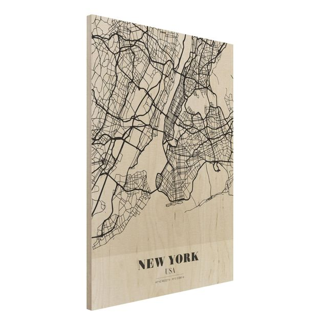 Holzbild -Stadtplan New York - Klassik- Hochformat 3:4