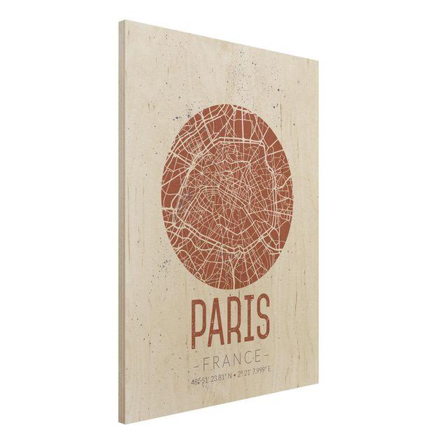 Holzbild -Stadtplan Paris - Retro- Hochformat 3:4