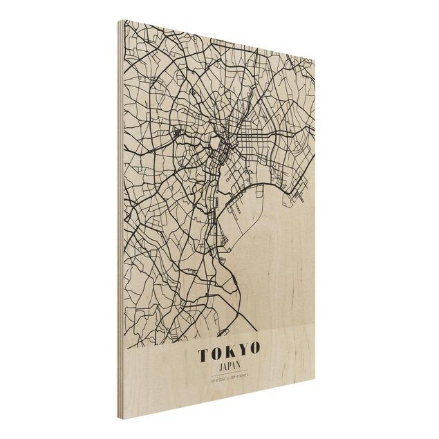 Holzbild -Stadtplan Tokyo - Klassik- Hochformat 3:4