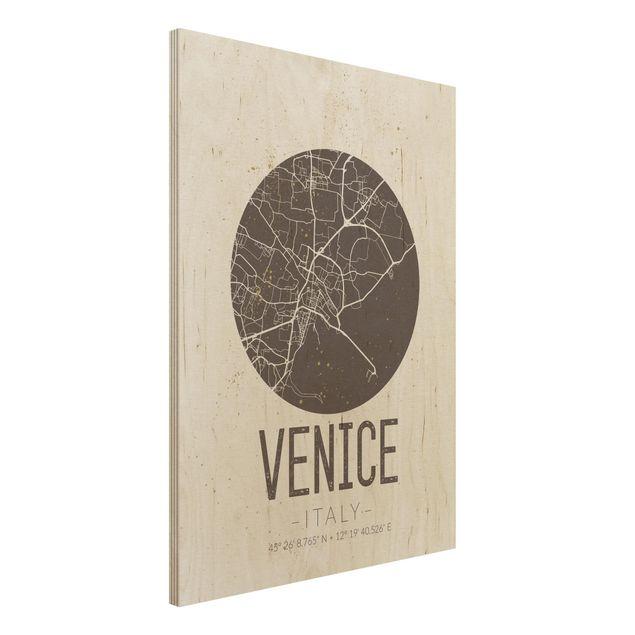 Holzbild -Stadtplan Venice - Retro- Hochformat 3:4