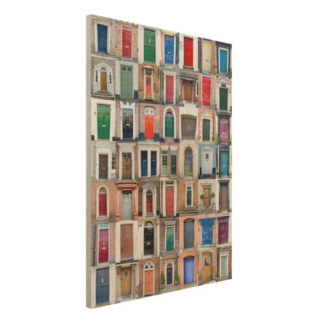 Holzbild - 100 Türen - Hoch 3:4