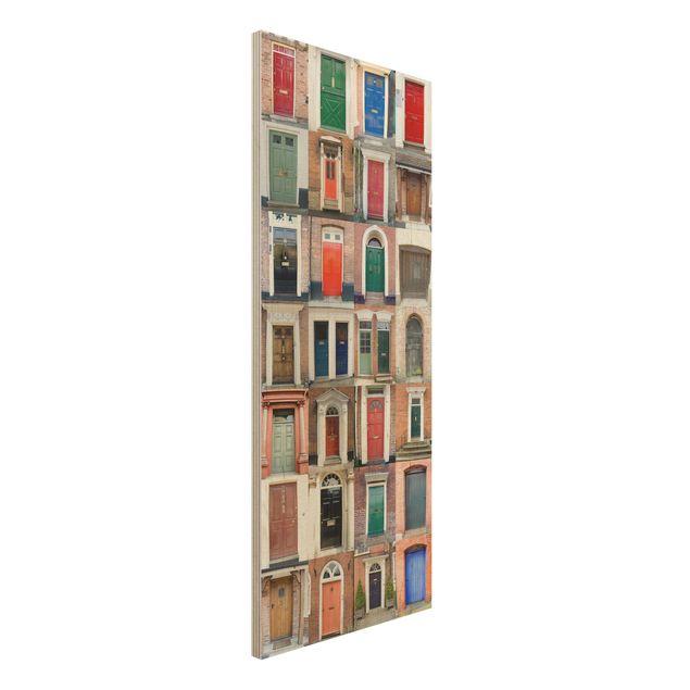 Holzbild - 100 Türen - Panorama Hoch