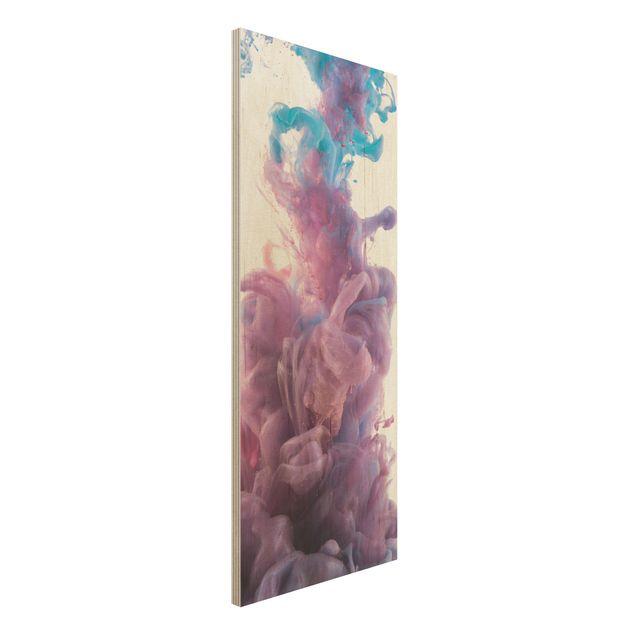 Holzbild - Abstrakter flüssiger Farbeffekt - Panorama Hoch