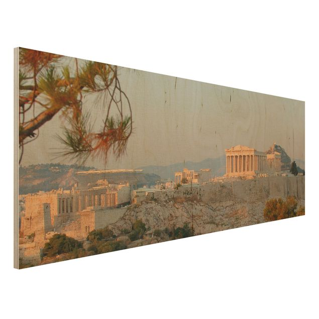 Wandbild aus Holz - Akropolis - Panorama Quer