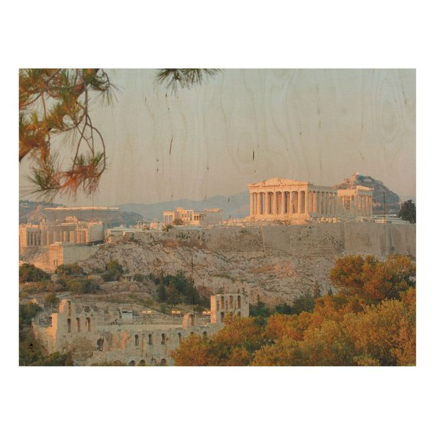 Wandbild aus Holz - Akropolis - Quer 4:3