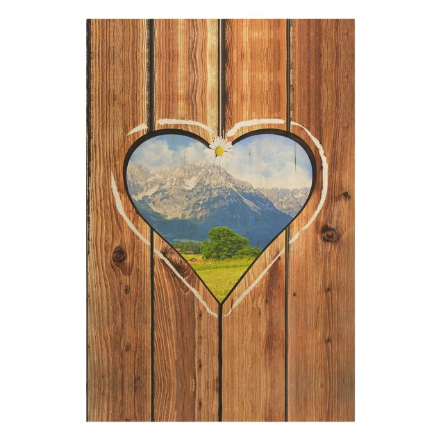 Wandbild aus Holz - Almhütten - Hoch 2:3