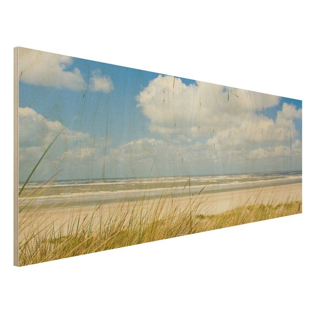 Holzbild Strand - An der Nordseeküste - Panorama Quer