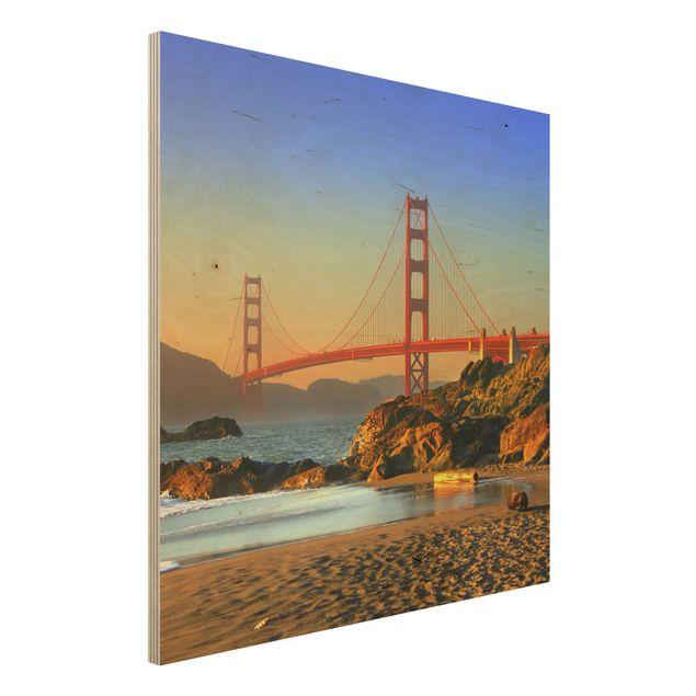 Wandbild aus Holz - Baker Beach - Quadrat 1:1