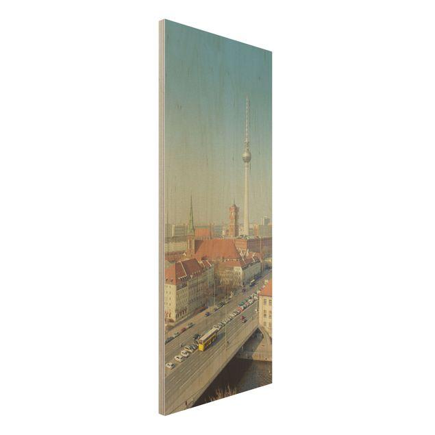 Holzbild Berlin am Morgen - Panorama Hoch