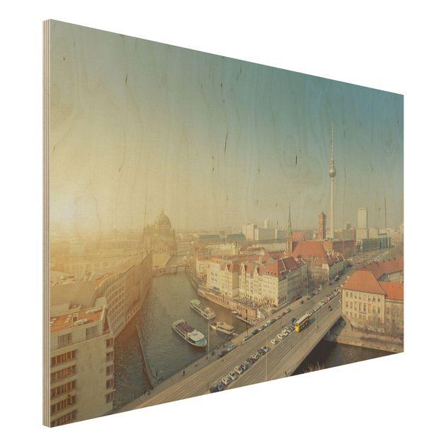Holzbild Berlin am Morgen - Quer 3:2