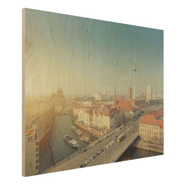 Holzbild Berlin am Morgen - Quer 4:3