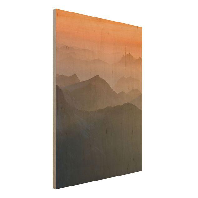 Holz Wandbild - Blick von der Zugspitze - Hoch 3:4