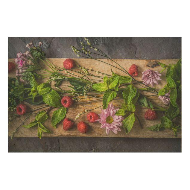 Holzbild - Blumen Himbeeren Minze - Quer 3:2