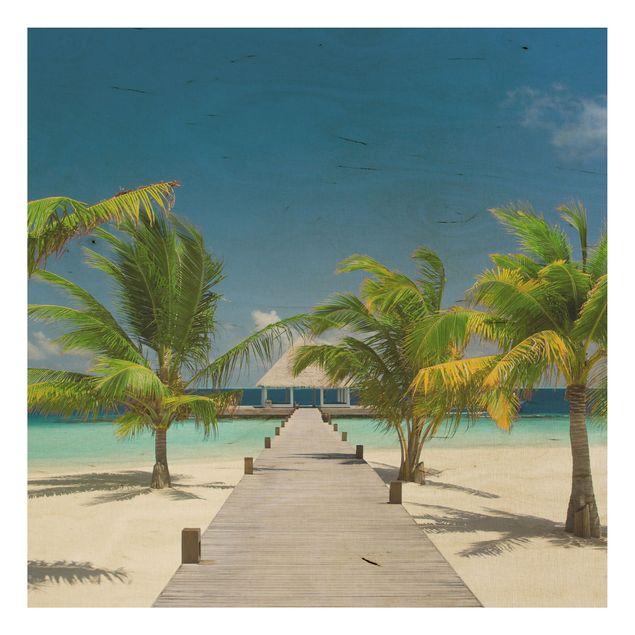 Holzbild Strand - Catwalk to Paradise - Quadrat 1:1