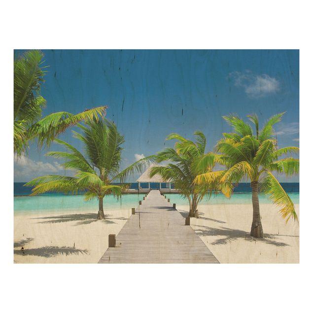 Holzbild Strand - Catwalk to Paradise - Quer 4:3