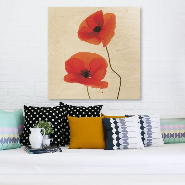 Holzbild - Charming Poppies - Quadrat 1:1