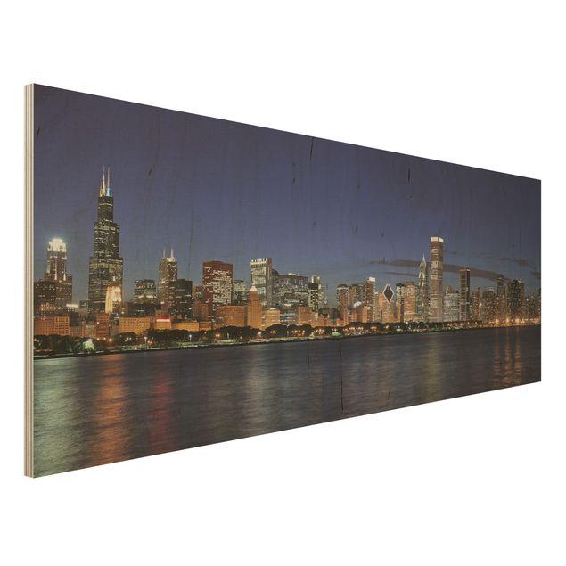 Holz Wandbild - Chicago Skyline bei Nacht - Panorama Quer